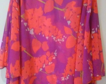 70s BRIGHT YOUNG THING--Fuchsia and Coral Floral Maxi Dress-- Nylon Jersey--Sheer Floaty Top--Column Style--Split at the Arms--Size 8
