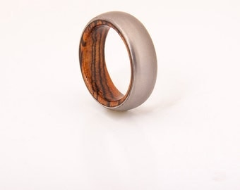 Titanium Ring bocote wood ring titanium wedding band wooden ring
