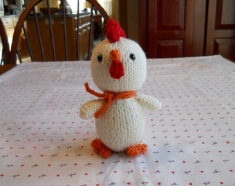Chick Farm Animal, Child's Soft Toy, Knitted Soft Animal, Child's Birthday Gift, White Little Chicken Toy