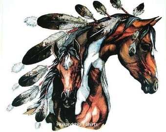 Womens T Shirt Native American Indian War Pony Paint Mare and Colt 13508