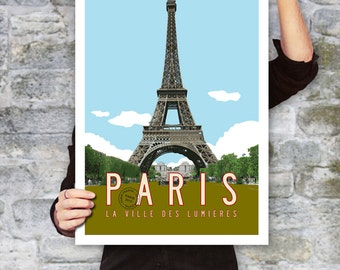 PARIS Travel Poster, Paris Art, Eiffel Tower Illustration, Personalized Print, Paris Decor, French Wall Art, Retro Poster. 20 x 30