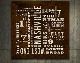 NASHVILLE Art, Rustic Wall Art, Nashville Poster, City Art, Nashville Sign, Canvas Wall Decor, Nashville Print, Word Art, Southern Decor.