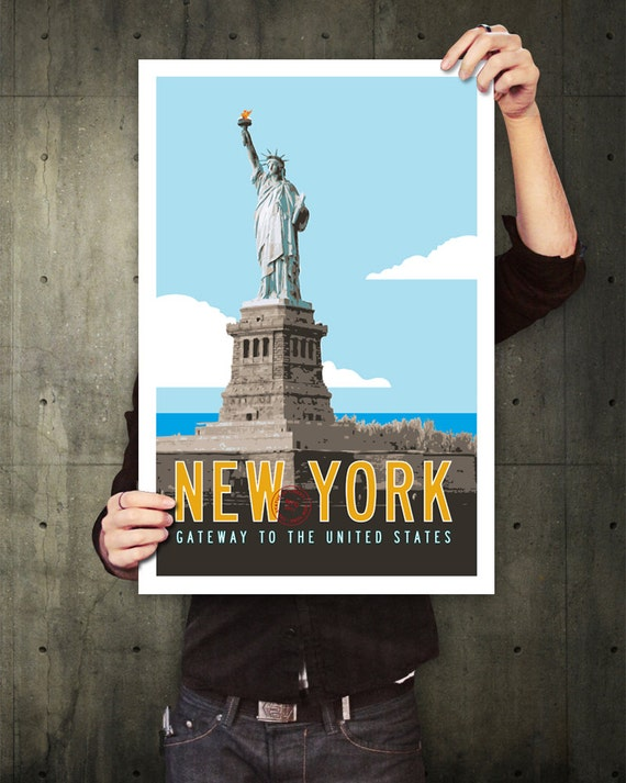 NEW YORK Travel Poster, Personalized Print, Statue of Liberty Illustration, New York City Print, Retro Poster Art. 20 x 30