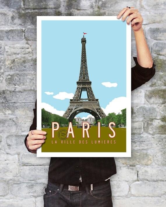 PARIS Travel Poster, Paris Art, Eiffel Tower Illustration, Personalized Print, Paris Decor, French Wall Art, Retro Poster. 20 x 30