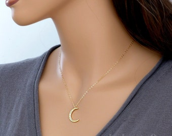 Crescent moon necklace, half moon necklace, dainty pendant necklace, moon jewelry, silver / gold, Cubic zirconia, holidays gift, by balance9