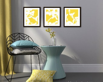 Cherry Blossoms Art Prints - Set of 3 - Yellow and White - Nature Home Decor - Modern Spring Tree Wall Art