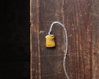 Honey  Amber square bead on Silver colour chain - Genuine baltic amber necklace, Christmas gift