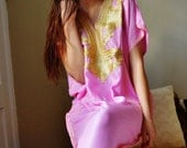 Valentine's day, Pink Gold Marrakech Resort Caftan Kaftan -beach cover ups, resortwear,lounge, maxi dress, birthdays, honeymoon, maternity