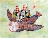Owl wall art / San Francisco art print / owl art print / San Francisco wall art / illustration wall art painting. By illustrator Lee White.