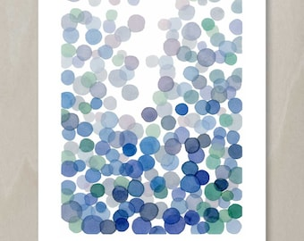 Blue Bubbles Watercolor Painting - Minimal Abstract Indigo Green Circles Splash Modern Wall Art
