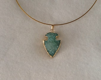 Aqua druzy necklace on gold wire with magnetic clasp