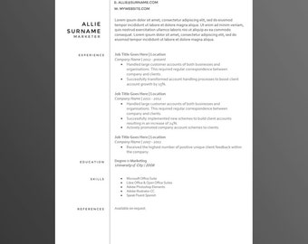 Clean And Modern Resume/CV Template   The Allie   Premium Resume Template  Design U0026  Clean Resume Design