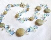 Ice Blue Glass Crystal Semi Precious Stone Jewelry Set