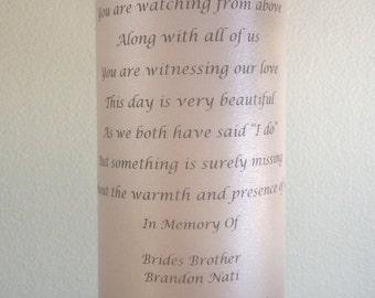 Wedding Unity or Memory Candle Customized 3x9 white or off white poem, names etc