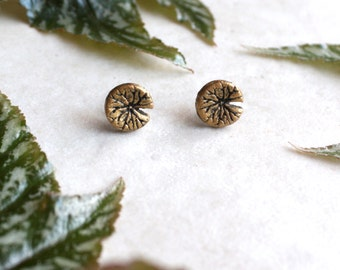 Waterlily Earrings, Lily Pad Jewelry, Tiny Gold Studs, Water Lily Post Earrings, Lilypad Jewelry, Hand Painted Earrings, Pond Lily Pad