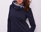 blue sweat hoodie - stars - buttons