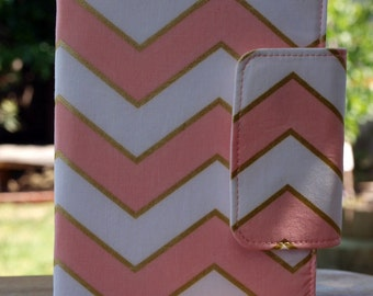 Pink and gold chevron oversized wallet