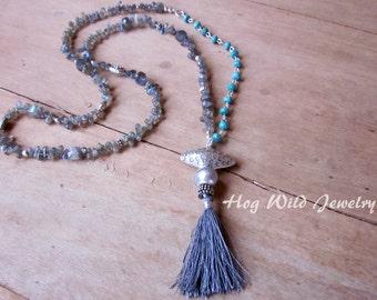 Tassel Necklace Labradorite Turquoise Gemstone Artisan Necklace