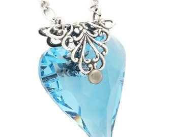 Blue Swarovski Crystal Heart of Love Necklace in Blue Antiqued Silver plated Brass Filigree by Dr Brassy Steampunk