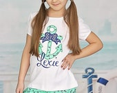 Navy Mint Anchor Polka Dot Nautical Girls Applique Shirt matching Turban Headband Wrap Messy Bow included