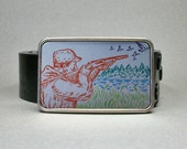 Belt Buckle Hunter Hunting Geese or Ducks