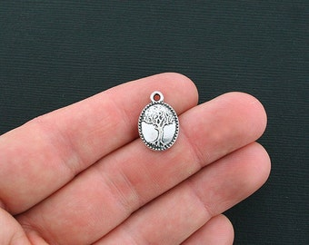 8 Tree of Life Charms Antique Silver Tone 2 Sided Family Tree Pendant - SC369