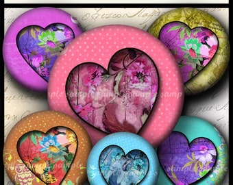 INSTANT DOWNLOAD  Floral Hearts  (719) 4x6 and 8.5x11  12mm circles Digital Collage Sheet glass tiles cabochon earrings images