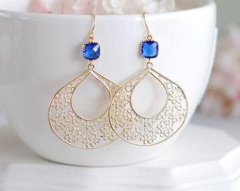 Cobalt Blue Earrings, Gold Filigree Earrings, Sapphire Blue Dangle Earrings, Blue and Gold Chandelier Earrings, Boho Bohemian Jewelry