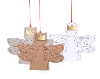 Gold foil gift tags , christmas decoration , Set of 3 , paper angel , xmas ornament ,rustic tree decoration , Hanging Angel , Guardian angel