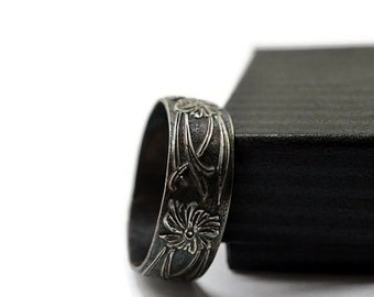 Oxidized Silver Art Nouveau Ring, Engravable Wedding Band, Men's Wedding Ring, Wide Silver Band