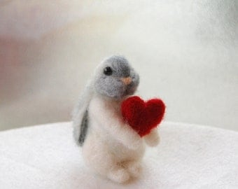 Felted Bunny With Heart, Tiny Felt Animals, Needle Felted Animal, Miniature Animals, Bunny Valentines Day Gift, Felted Bunnies, Childs Toy