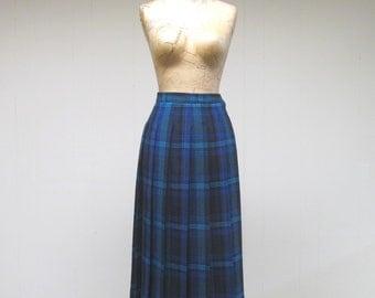 Vintage 1980s Skirt / 80s Blue Green Wool Pleated Jaeger Skirt / Small