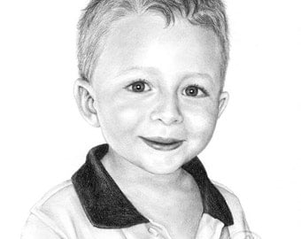 Portrait Drawing High Quality in Pencil - Hand sketched from your photo - different size options - Unique Artwork Gift Idea
