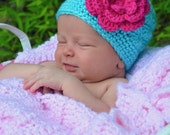 Crochet Girls Hat - Baby Hat - Toddler Hat - Spring Hat - Winter Hat - Aqua Blue with Hot Pink Flower - in sizes Newborn to 3 Years