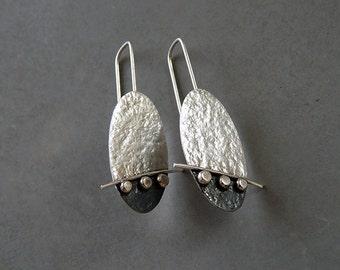 Sterling silver oval earrings - Silver jewelry - Handmade earrings