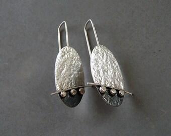 Sterling silver oval earrings. Drop earrings. Silver jewellery. Oxidised earrings. Handmade. MADE TO ORDER.