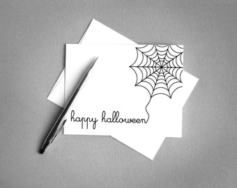 Halloween Printable Card. Happy Halloween. Halloween Invitation. Spider Web. Instant Download. Halloween Digital Download.