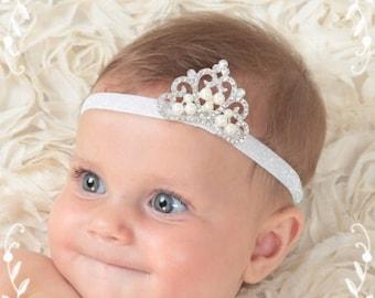 baby girl crown headband, newborn crown headband, baby tiara headband, newborn princess crown, toddler crown, princess crown,