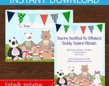 Teddy Bears Picnic Invitation - Boys - INSTANT DOWNLOAD