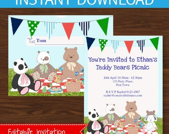Teddy Bears Picnic Invitation - Boys - INSTANT DOWNLOAD