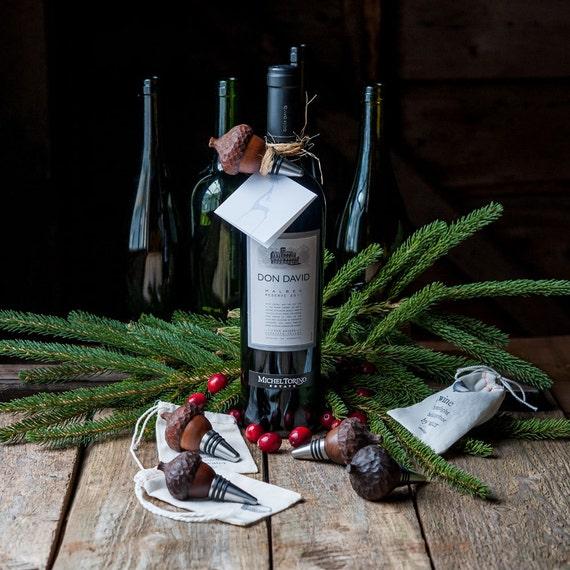 Acorn Wine Stop, Wood Wine Stopper, Hostess Gift, Bottle Stopper, Stocking Stuffer, Drink and Barware