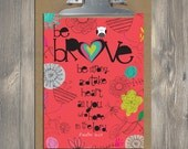 Christian Gift, Scripture art, Wise Reminders - Be Brave owl, Christian art print