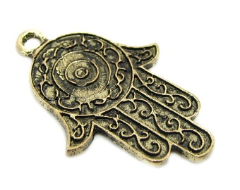 Charms : 10 Antique Gold Hamsa Pendants | Ornate Hand of Fatima Pendants ... 22x34mm -- Lead, Nickel & Cadmium Free 93347.J6F