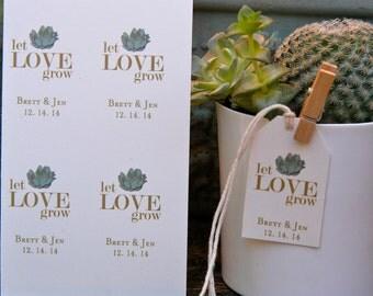 Succulent Favor Tags - 100 Mini Tags. Many Designs Available. Let Love Grow Favors. Succulent Party Favors.