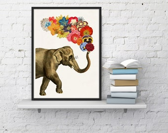 Elephant with Flowers  Elephant Wall Art Giclee Print  Elephant wall decor  elephat and flowers art-  A4 print- ANI091WA4