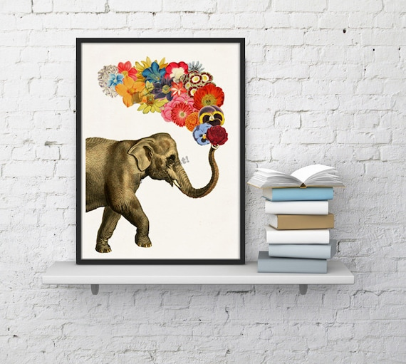 Spring Sale Elephant with Flowers  Elephant Wall Art Giclee Print  Elephant wall decor  elephat and flowers art-  A4 print- WAN062