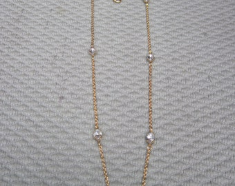 "36"" Gold Chain with Crystal Faceted Spaced Beads"