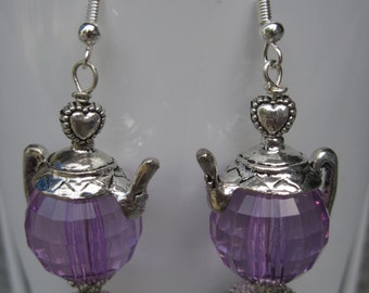 Great Gift.....Faceted Clear Round Lavender Bead Silver Tea Pot Earrings