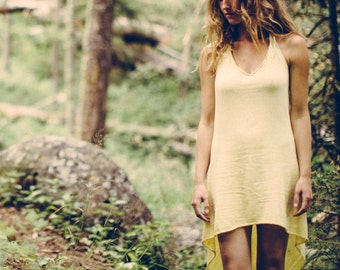 Oread Halter - Hemp - Organic Cotton - Herbal Dye -  Womens Dress - Natural Clothing - Juniperous