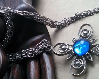 Vintage Necklace Silvery Filigree Cross With Large Round Sapphire Blue Cabochon  New and Improved 6/2015